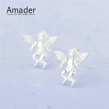 Womens 100% 925 Sterling Silver Jewelry Fashion cute Tiny Angel Wings Stud Earrings Gift for Girls Friend Kids Lady
