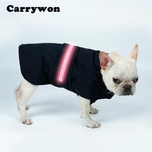 Carrywon Pet Dog Coat Waterproof Clothes LED Light Nylon Durable Jacket Pets Shiny Dogs Cool Warm Vest Clothing