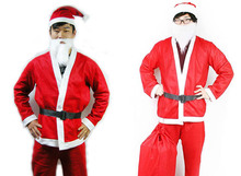 Hot Sale Merry Christmas Costume Santa Claus Party Happy Adult Hat Cap White Rim Headgear Clothes Set