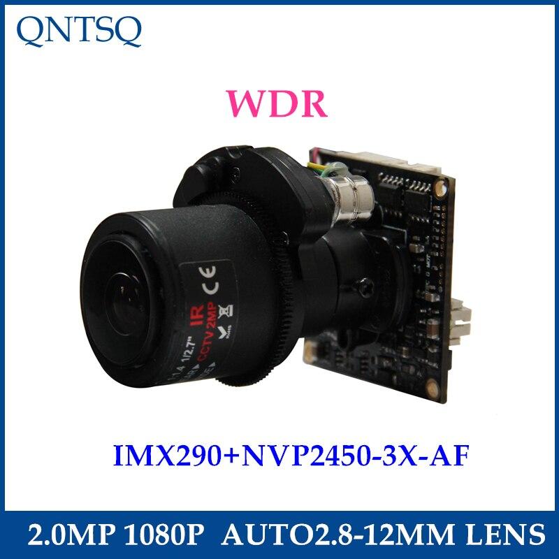 1080P 2.0MP AHD/TVI/CVI/CVBS Motorized 2.8-12mm Zoom &amp; Auto Focal LENs 1/2.8 Sony Exmor IMX290 NVP2450 CCTV camera module board<br>