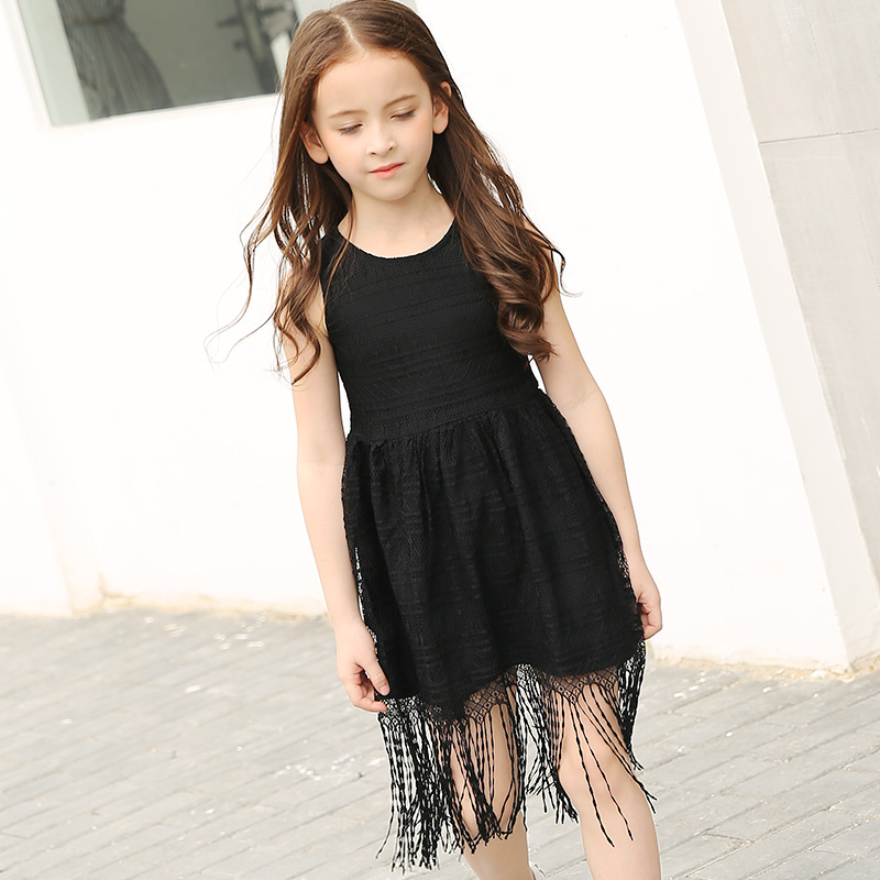 2017 Summer Girl Black Lace Dress Kids Girl Tassel Vest Dress Children Girls Sleeveless Fringe Clothing For 5 To 16 Years<br>