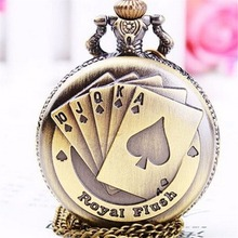 Playing Vintage Poker Cards Shape Necklace Quartz Pocket Watch Chain Pendant Necklace Xmas Gift(China)