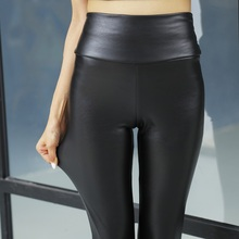Winter Warm Women Pants Female Bottom PU Leather Trousers Elastic Pencil Skinny pants Plus 2-layer Women's Fashion Tight pants
