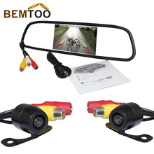 BEMTOO 5 inch HD Rear View Mirror Monitor 800*480+HD Night Vision Car Rear View Camera and Front Camera with 170 Wide View Angle