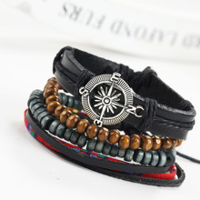 Vintage Compass Design Men Multi Layer Leather Bracelets Wood Beads Adjustable DIY Charms Braclets For Male Jewelry Bijouterie