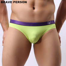 Buy Brave Person Men Briefs Brand Sexy Underwear Briefs Low Waist Underpants Men Briefs Nylon Fabrics Cozy Men Bikini Briefs