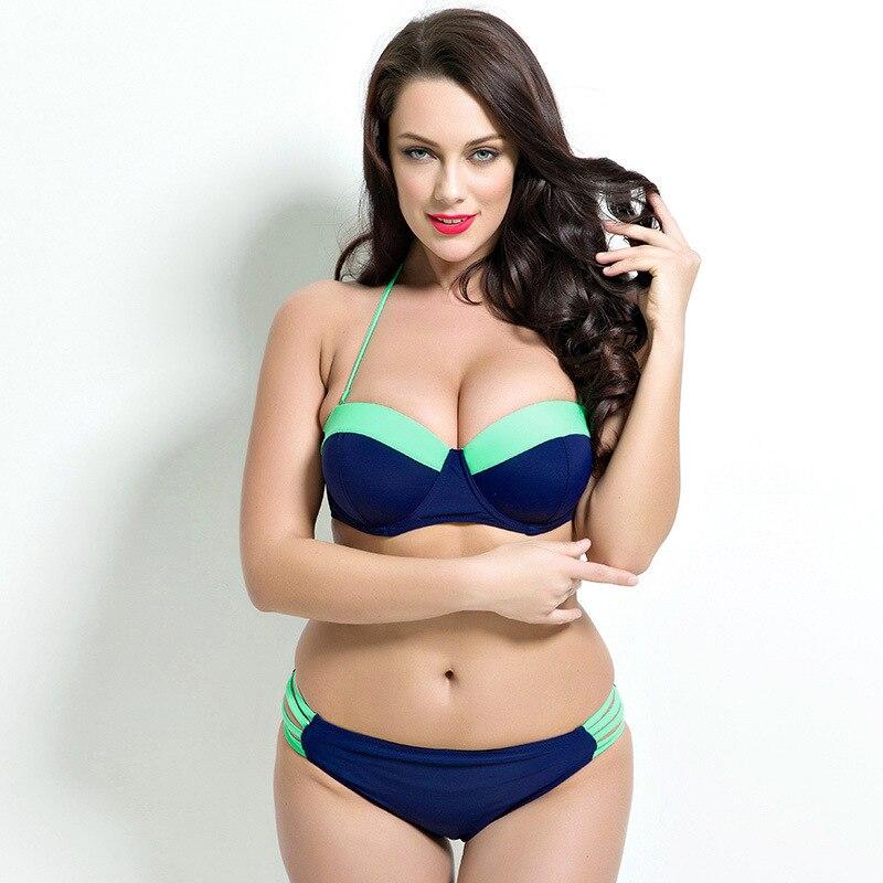 2017 Sexy Bikinis Swimwear Solid Women Swimsuit Push Up Mid Waist Bathing Suits Bikini Set Beach Swimwear Biquini XXL Plus Size<br><br>Aliexpress