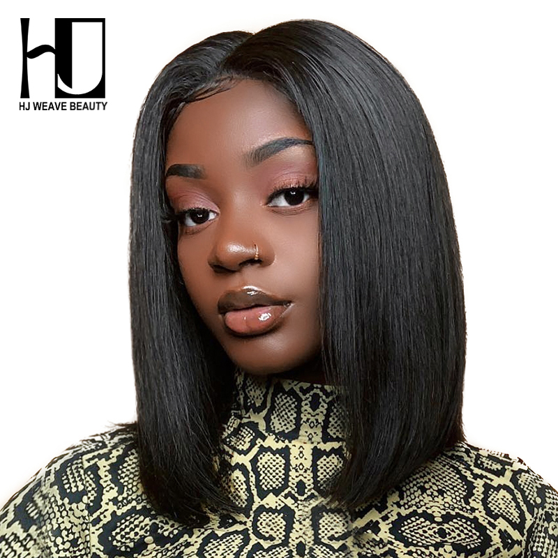 HJ Weave Beauty Short Lace Front Human Hair Wigs Bob Wig with Pre Plucked Hairline Brazilian Hair Blonde Lace Front Wig(China)