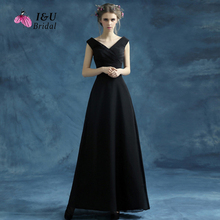 V Back Black Prom Dress with Tailored Fit Skirt Plus Size Chiffon Prom Gown Real Sample Photo