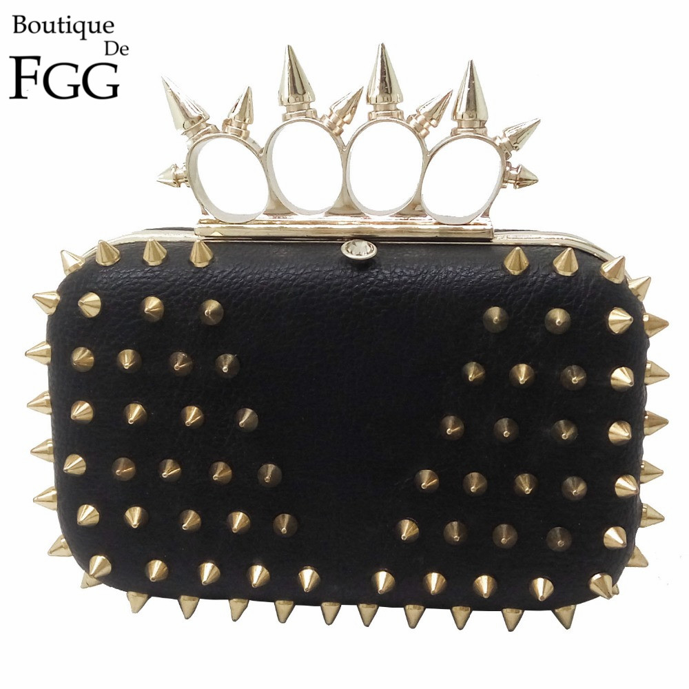 4 Colors Fashion American Style Women Punk Rivet Evening Bag Bullet Knucklebox Clutch Bag Ladies PU Hardcase Metal Clutches<br>
