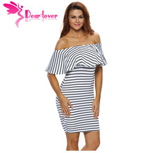 Dear Lover Striped Dresses Summer Slash Neck Black White Women Off-shoulder Bodycon Dress Vestidos Listrado Curto Cheap LC22792 - dearlover Official Store store