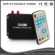 HD Car Mobile TV tuner DVB-T2 Receiver External Digital TV Receiver 1080P Eruope Market H264 Double Tuner/Antenna Two Chip MEPG4