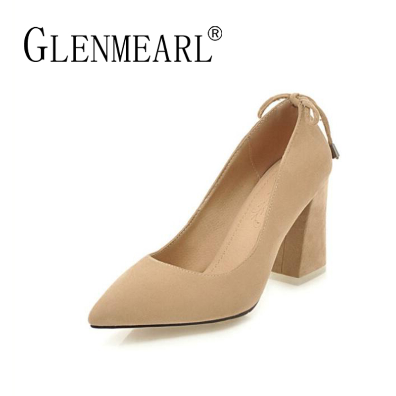 Brand Women Pumps Spring High Heels Shoes Woman Bow Flock Thick Heels Dress Shoes Plus Size Pointed Toe Tassels Single Shoes DE<br>
