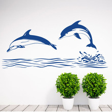 Double Dolphin Wall Stickers Home Decor Bathroom Tile Wall Sticker Vinyl Removable Wall Decals Waterproof(China)