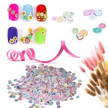 1000pcs/pack Nail Art 3D Fruit Feather Heart Flower Candy Mixed Designs Tiny Fimo Slices Polymer Clay Nail Sticker Decoration(China)
