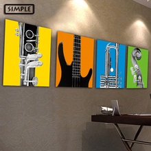 Oil Painting Canvas Musical Instruments Wall Art Decoration Painting Home Decor Modern Wall Picture For Living Room(1PCS)