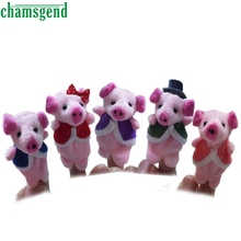 CHAMSGEND 5pcs Finger Hand Puppets Plush Toys For Kids Animal Pig Family Finger Gloves puppets reborn dolls  Toy Gift Oct1