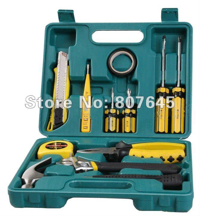 12pcs hand tools set &amp; home tools (plier, screwdriver, hammer, cutter, ruler, test pen)<br><br>Aliexpress