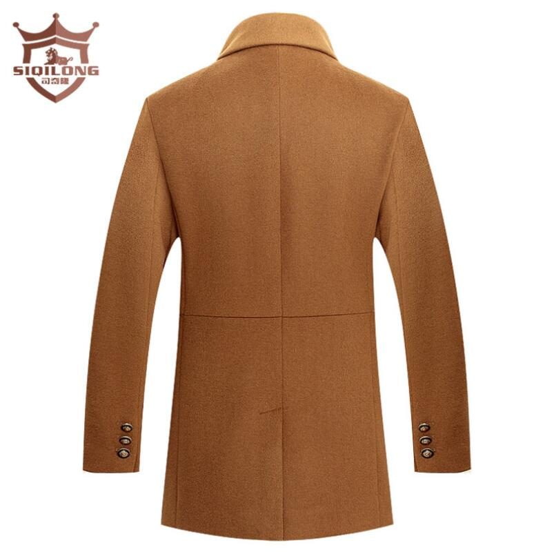 SIQILONG Autumn/Winter New Arrival Men Wool Jacket Men Thicker Warm Trench coat Overcoat England Stylish Solid Wool & Blends