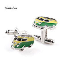 Classic cars High Quality Green Bus Shape Cufflinks For Men Women Shirt Wedding Gift Cufflink Gift for Party