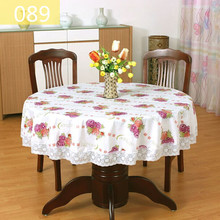1Pcs Pastoral PVC Round Table Cloth Waterproof Oilproof Floral Printed Lace Edge Plastic Table Covers Anti Hot Coffee Tablecloth