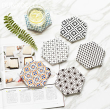 DUNXDECO Table Placemat Coffee Cup Pad Coasters Hexagon Ceramic Cork Coaster Mat European White Black Geometric Art Desk Decor(China)