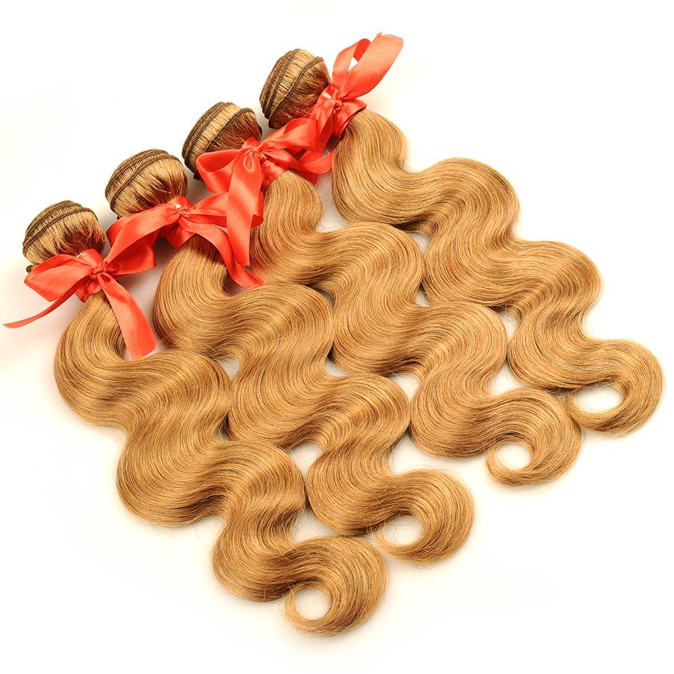 Pinshair 4 PcsPack Body Wave Hair Honey Blonde Brazilian Hair Weave Bundle Deals #27 100% Human Hair Extensions Non Remy Hair  (62)