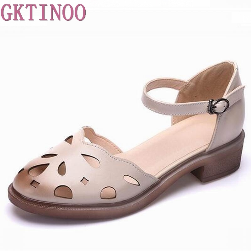2018 summer sandals female handmade genuine leather women casual comfortable woman shoes sandals women summer shoes T<br>