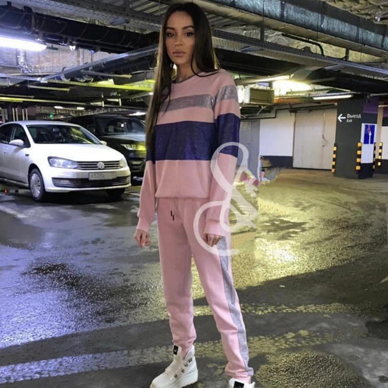 Casual Tracksuit Long Sleeve  Sweatshirts Women Clothing 2 Piece Set Tops+Pants Sporting Suit Female Sportwear Tracksuits Outfit