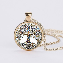 Fashion Silver Life Tree Time Gem Glass Pendant Necklace Women Pendant Necklace Jewelry Birthday Gifts Necklaces Man 368042
