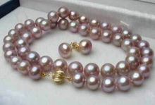 "2015 Charming women hot sale 8-9mm Purple Pink Akoya Cultured Pearl Necklace 17"" earring Jewelry Wholesale and retail"