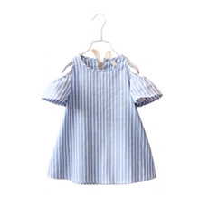 Cheap Baby Girls Striped Dresses Summer Kids Holiday Casual Party Princess Dress for Little Girls 1-6Y Children's Clothing Blue