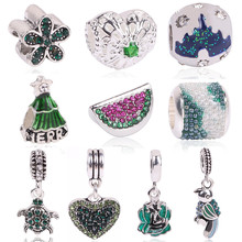 Lovely Green Beads Fit Original Pandora Bracelet Necklace Big Hole Diy Charms For Women Enamel Heart Shape Pendant For Girl Gift(China)