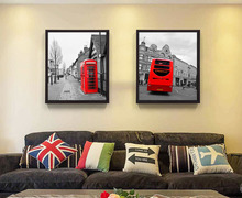 vintage style Home decor picture scenery London black and white painting red telephone booth red bus art Canvas Painting