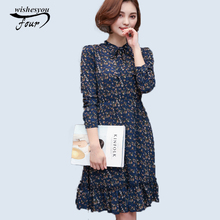 Fresh Natural Beauty Floral Print Chiffon elegant sexy Holiday women's clothing 2017 Spring New Long Sleeve Floral Dress 700D 30