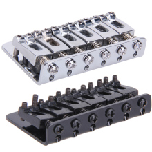 Black/Silver 6 Saddle Hardtail Bridge Top Load 65mm Electric Guitar Bridge with 5Pcs Screws Heavy Guitar Accessories