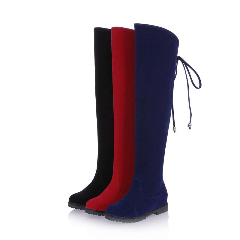 ENMAYLA Knee-High Boots Shoes Black Red Blue Fashion Round Toe Low Winter Long Boots Snow boots women warm winter Knight boots<br>