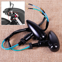 2pcs Motorcycle Black Bullet Turn Signals Light Blinker Indicator fit for Harley Honda Suzuki Bobber Yamaha Chopper Dirt Bike