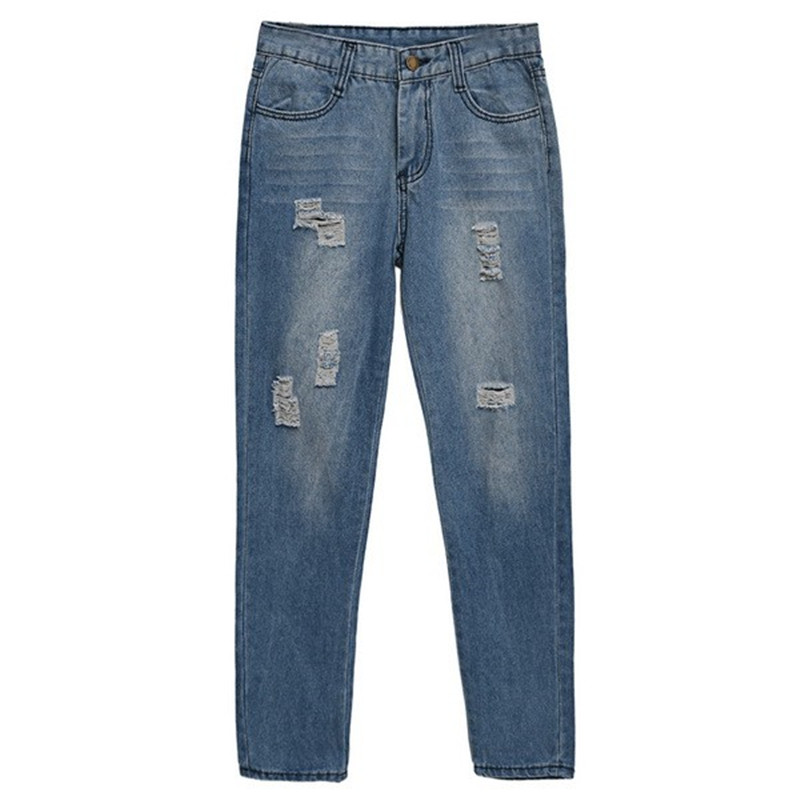 New Trendy Women Ladies Medium Waist Denim Jeans Hole Light Wash Full Length Slim Leg Casual PantsОдежда и ак�е��уары<br><br><br>Aliexpress