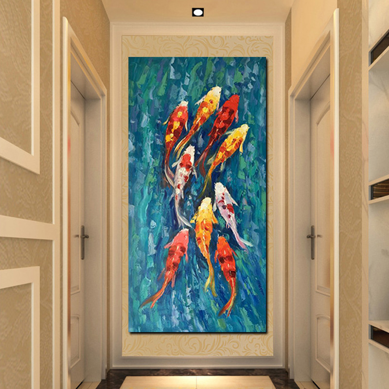 Wall Art Picture HD Print Chinese Abstract Nine Koi Fish Landscape Oil Painting on Canvas Poster For Living Room Modern Decor (3)