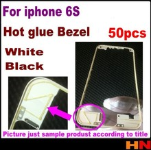50pcs Black White Front Bezel with hot glue for iPhone 6s 4.7 inch LCD Middle Frame Housing Parts Chrome Screen Holder(China)