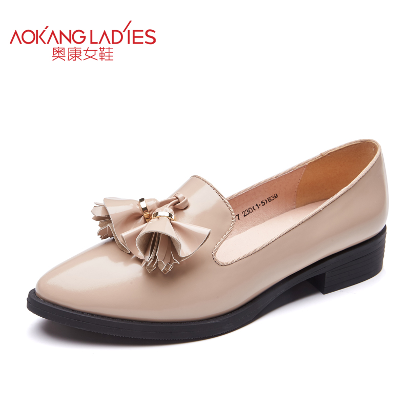 AOKANG 2017 autumn New Arrival sweet lady shoes PU material pointed toe flats for women patent leather female shoes wholesale<br><br>Aliexpress