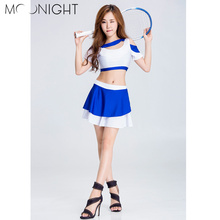 MOONIGHT High Quality The New Blue Cheerleading Uniforms Cheerleading Costume Tops+Skirts