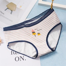 Buy Brand New Cute Printed Briefs Panties Women Cotton Cartoon Underwear Girls Female Striped Knickers Intimates