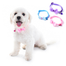 Cute Dog Harness Adjustable Pet Collar Small Dog & Cat Nylon Leashes Necklace with Bell & Bowknot Design Collar for Dog Cats