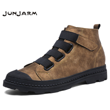 JUNJARM 2017 Genuine Leather Men Ankle Boots Breathable Martin Boots Man Leather High Top Shoes Outdoor Casual Shoes Botas Homme(China)