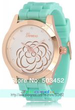 Fresh Mint Color Silicone Watch Flower Design Ladies Watch Rose Gold Case Quartz Geneva Watch 100pcs/lot,6 Colors Are Available