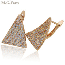MGFam Trangle Hoop Earrings For Women Gold Color AAA+ Cubic Zircon Shinne Hot Buy Fashion Jewelry Lead and Nickel Free(China)