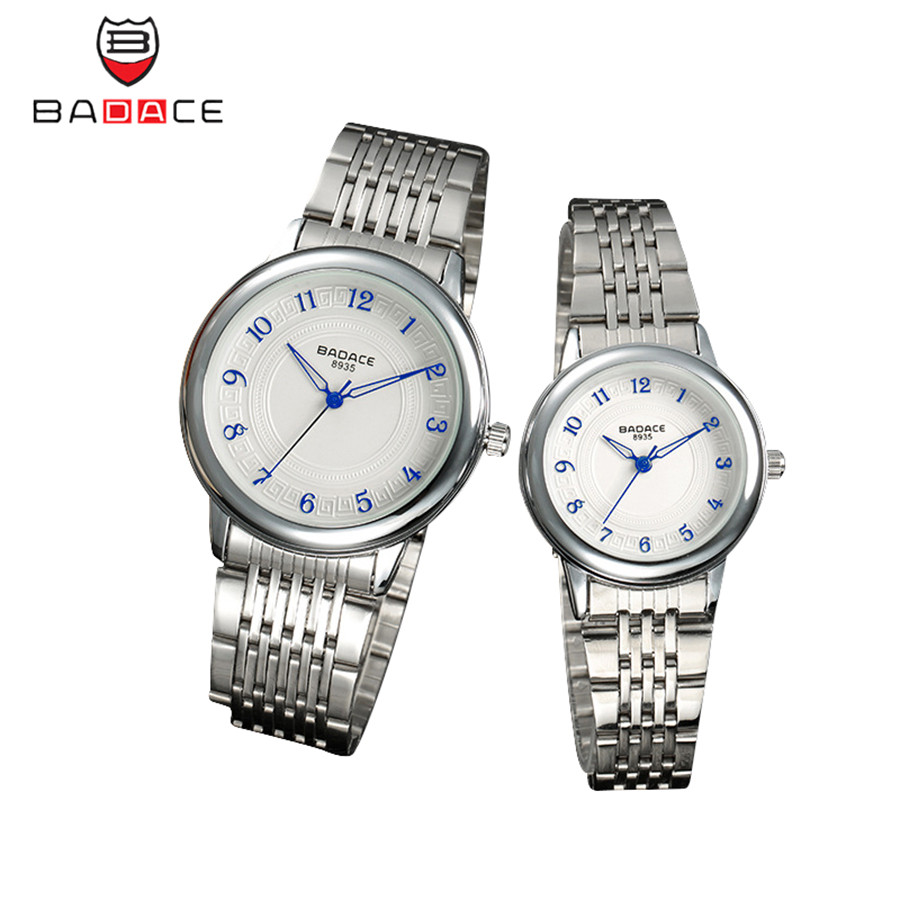 2Pcs BADACE Lovers Watches Fashion Stainless Steel Band Quartz Watches Men Woman Couples Wristwatch Birthday Christmas Gift<br><br>Aliexpress