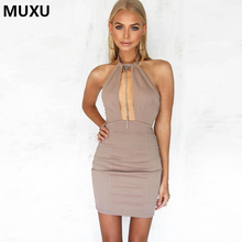 Buy MUXU summer backless dress sexy suspender women clothing fashionable sleeveless cheap clothes china bodycon fashionable dress for $31.87 in AliExpress store